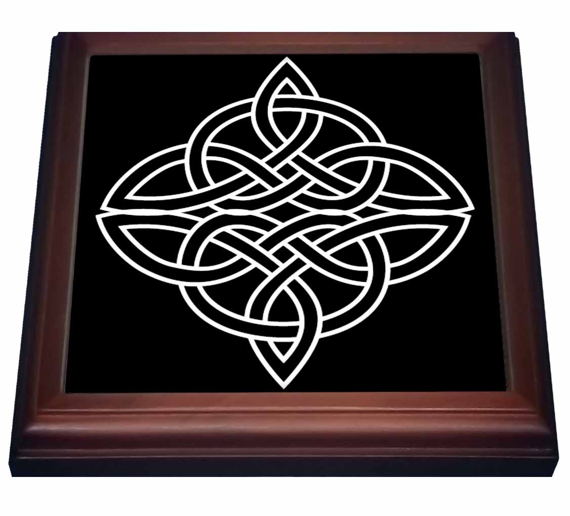 3dRose White Celtic Design On A Black Background, Trivet with Ceramic Tile, 8 by 8-inch