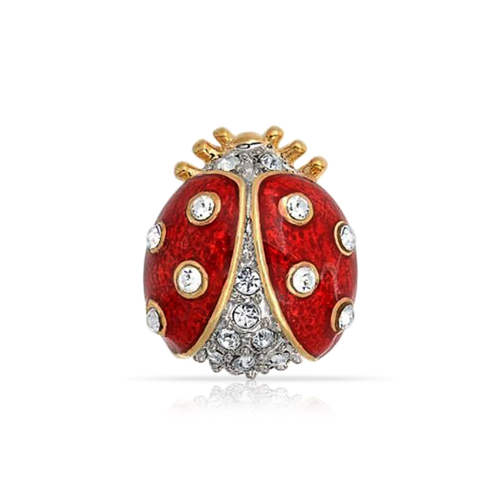 Bling Jewelry Gold Plated Red Enamel Crystal Insect Ladybug Brooch Pin by Bling Jewelry