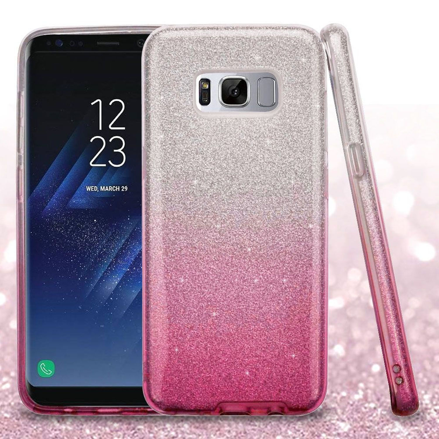 Samsung Galaxy S8+ Case, Samsung Galaxy S8 Plus Case, by Insten Gradient Dual Layer [Shock Absorbing] Hybrid Glitter Hard Plastic/Soft TPU Rubber Case Phone Cover For Samsung Galaxy S8 Plus S8+, Pink