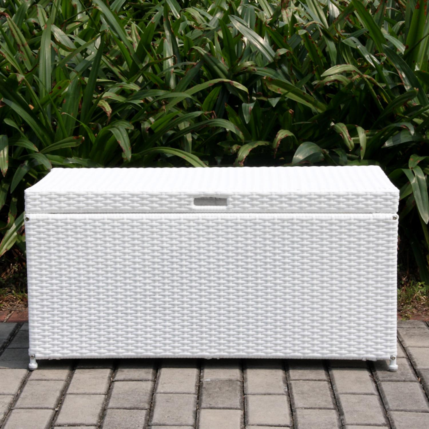 "40"" White Resin Wicker Outdoor Patio Garden Hinged Lidded Storage Deck Box"