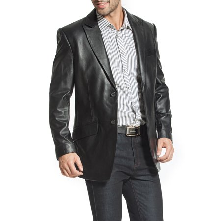 BGSD Men's Ben 2-Button Lambskin Leather Blazer (Short)