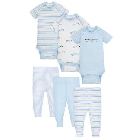 Wonder Nation Baby Boy 6-Pack Dinosaur Short Sleeve Bodysuits Size 6-9months NEW