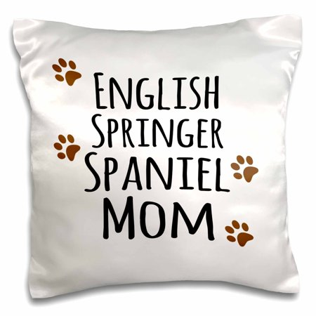 3dRose English Springer Spaniel Dog Mom - Doggie by breed - brown muddy paw prints - doggy lover pet owner - Pillow Case, 16 by