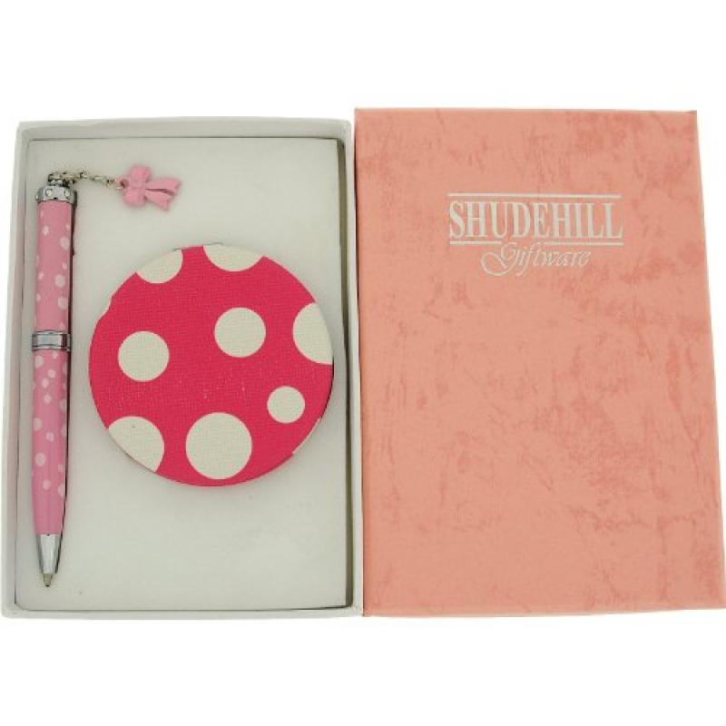 SHJ Ladies-Girls Pink & White Spotted Pen & Matching Comp...