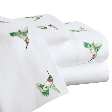 Hummingbird Spring Embroidered Bed Sheet Set