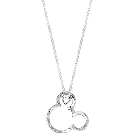 Disney Crystal Heart Silver-Tone Mickey Mouse Necklace, 18