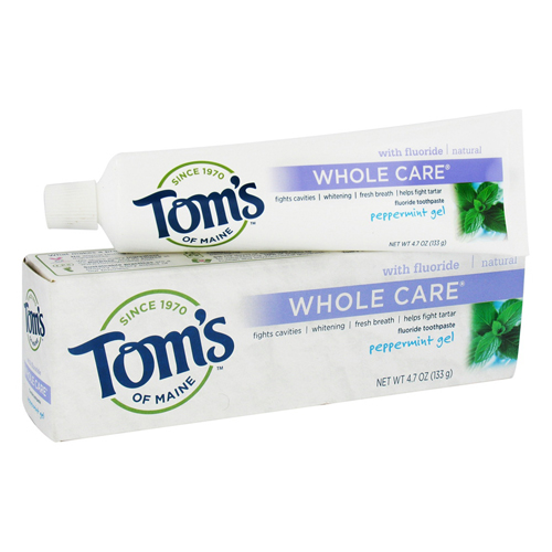 Toms Of Maine Whole Care With Fluoride Toothpaste Gel, Peppermint - 4.7 Oz, 3 Pack
