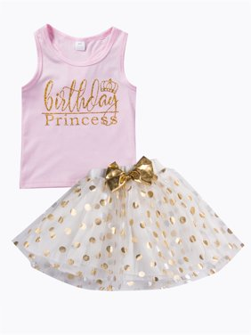 Toddler Baby Girls Outfit Set Tanks Vest Shirts Tops and Polka Dots Skirts Summer Clothes