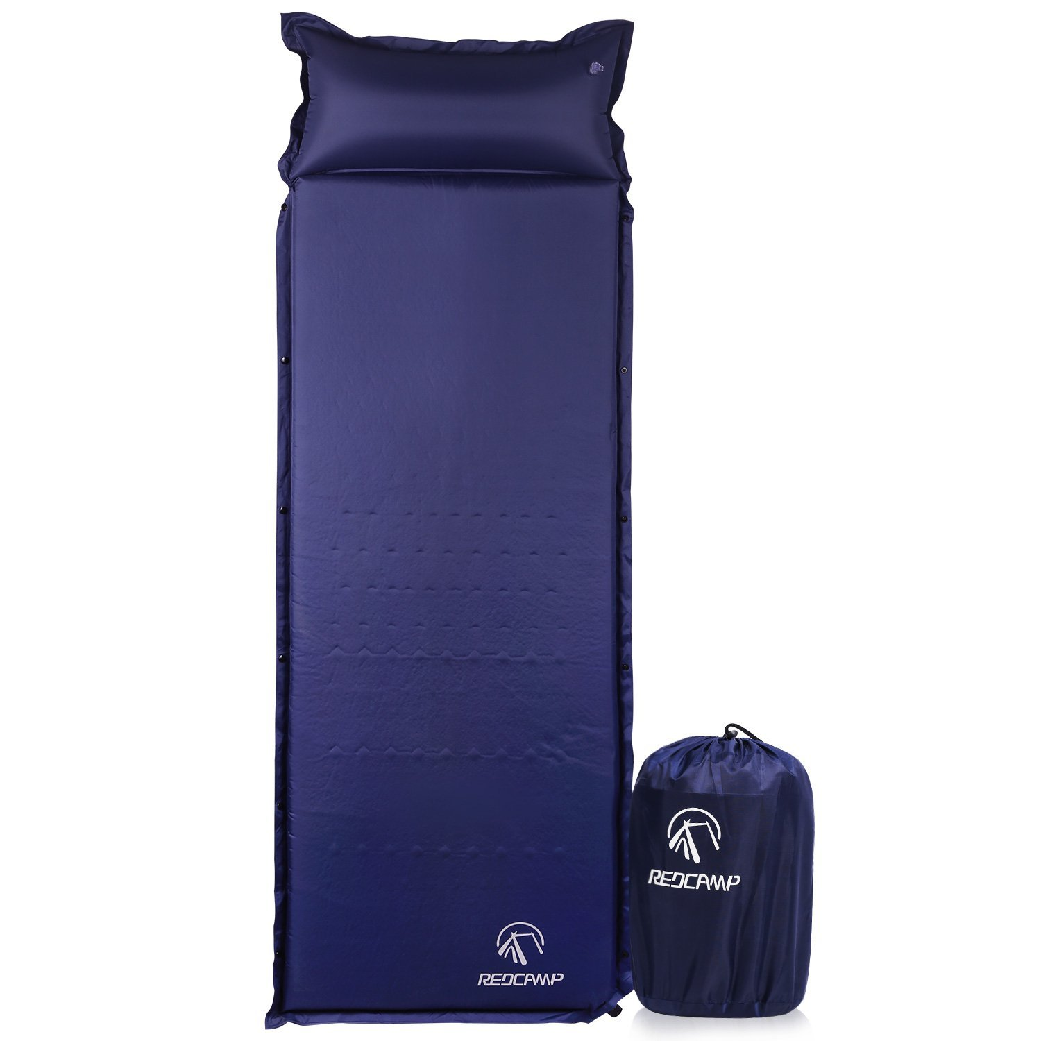 "REDCAMP Self Inflating Sleeping Pad with Attached Pillow, Compact Lightweight Camping Air Mattress with Quick Flow Value,77""x26""x1.2"""