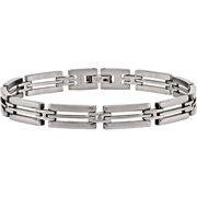 Stainless Steel Brushed and Polished Bracelet, 8.75
