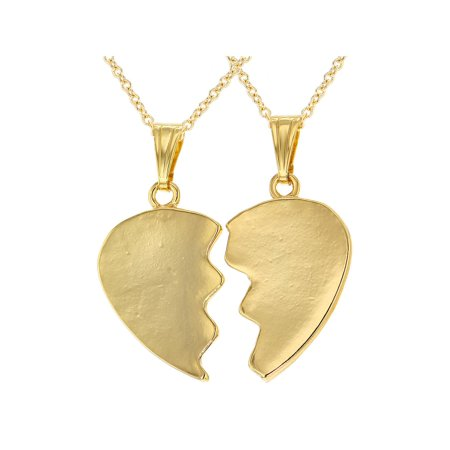18k Gold Plated His and Hers Plain Heart Pendant Love Couple Necklace 19