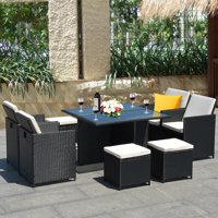 Gymax 9 Pieces Patio Rattan Dining Set Chairs Ottoman Cushioned Glass Table Top