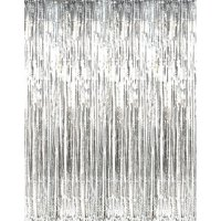 PMU Metallic Fringe Curtains (Silver) 3ft x 8ft Pkg/1