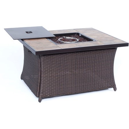 Cambridge Outdoor 40,000 BTU Woven Fire Pit Coffee Table with Porcelain Tile Top ()