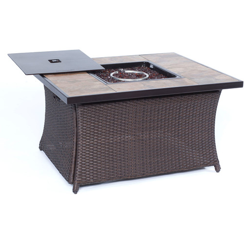 Cambridge Outdoor 40,000 BTU Woven Fire Pit Coffee Table with Porcelain Tile Top