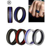 Luxtrada Silicone Wedding Ring for Men Women - 5 Pack Comfortable Fit, Skin Safe, Non-Toxic, Antibacterial Rubber Wedding Ring (Size,9)