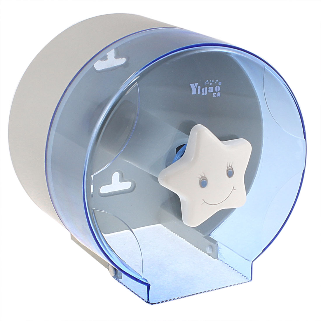 Cylindrical Design Toilet Paper Rack Tissue Holder Box Case Clear Blue