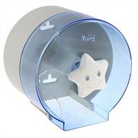 Unique Bargains Cylindrical Design Toilet Paper Rack Tissue Holder Box Case Clear Blue
