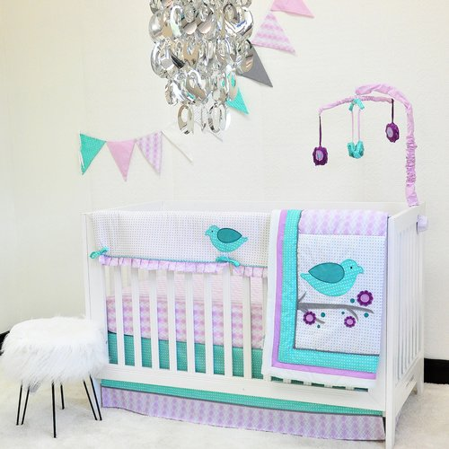 Pam Grace Creations Lovebird Lavender 10-Piece Crib Bedding Set
