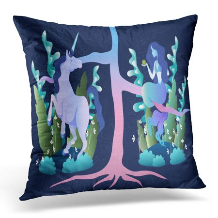 ECCOT Colorful Ancient Sleek of Magic Beast Mermaid and Unicorn in The Forest Pillowcase Pillow Cover Cushion Case 18x18 inch - Unicorn In Forest