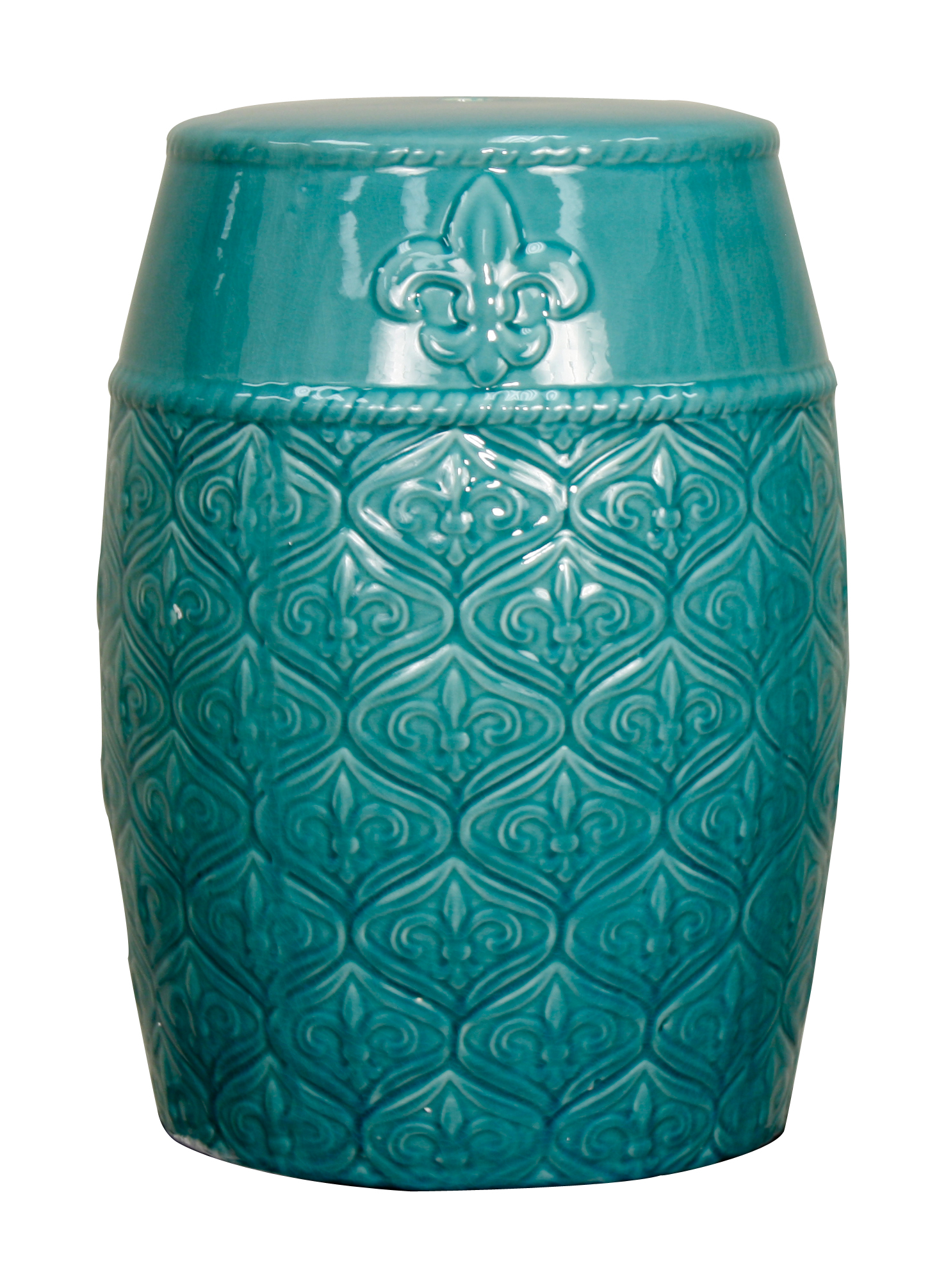 spear ceramic garden stool turquoise