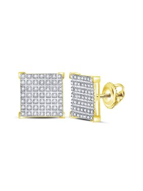 10kt Yellow Gold Mens Round Diamond Square Cluster Earrings 1/3 Cttw Fine Jewelry Ideal Gifts For Women Gift Set From Heart