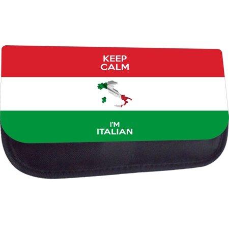 Keep Calm I'm Italian  - Black Nylon-Lined Pencil Case with 2 Zippers Black Italian Favor Boxes
