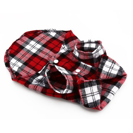 Greensen Material: cotton,New Small Pet Dog Puppy Plaid T Shirt Lapel Coat Cat Jacket Clothes Costume Red M - image 2 of 7