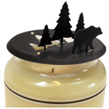 C-LD-83 1 EACH Bear & Pine - Candle Jar Topper