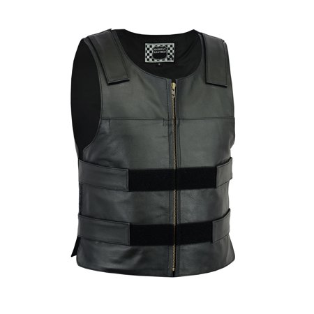 Men Replica Bullet Proof style Leather Motorcycle Vest for bikers Club Tactical Vest Flag Leather Vest