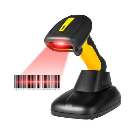 Radall -1205BT Handheld Wireless 1D Barcode Scanner BT Bar Code Reader with Stand Base 256Kb Storage for POS Warehousing Postal Bank Library (Symbol Wireless Barcode Scanner)