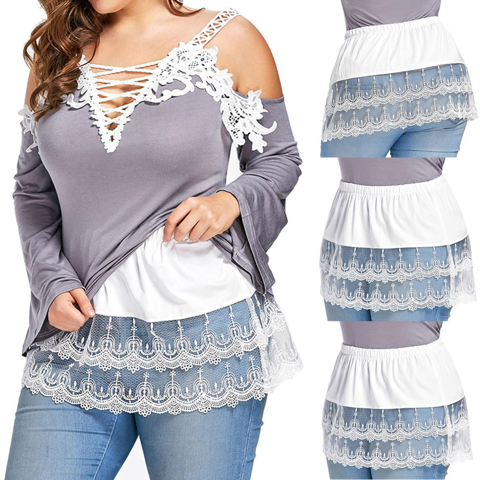 Womens Layered Tiered Sheer Lace Trim Extender Half Slip Skirt Plus Size S-5XL