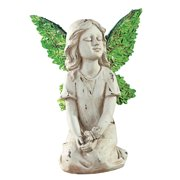 Angel Fairy Resin Garden Statue Figurine Decoration with Leaf Wings, Sitting Angel