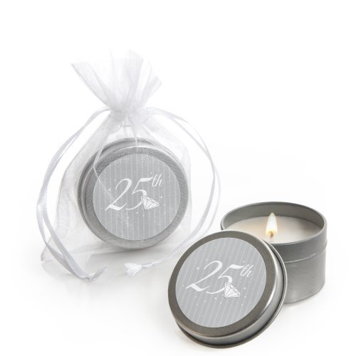 25th Anniversary - Candle Tins Party Favors (Set of 12)