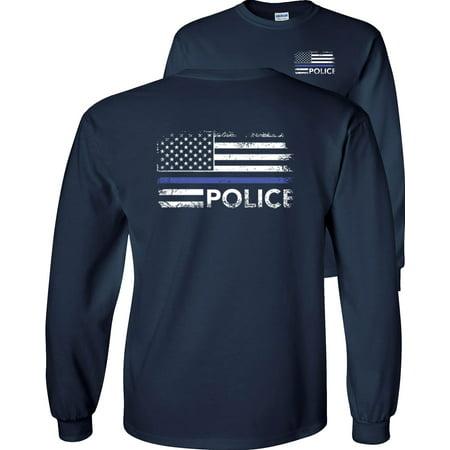 Thin Blue Line Police USA Flag Long Sleeve T-Shirt ()