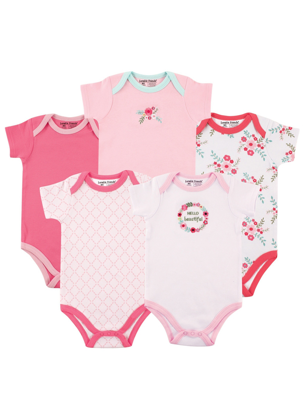Baby Girl Bodysuits, 5-pack