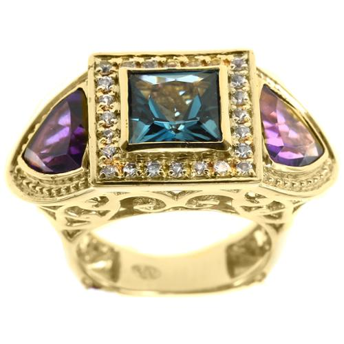 Dallas Prince Sterling Silver Amethyst and Blue Topaz Trinity Ring Amethyst and Blue Topaz Trinity Ring Size 6