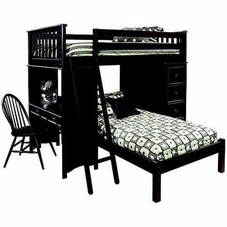 Generic Mission Storage Loft Bed Desk Lower Platform Bed Espresso