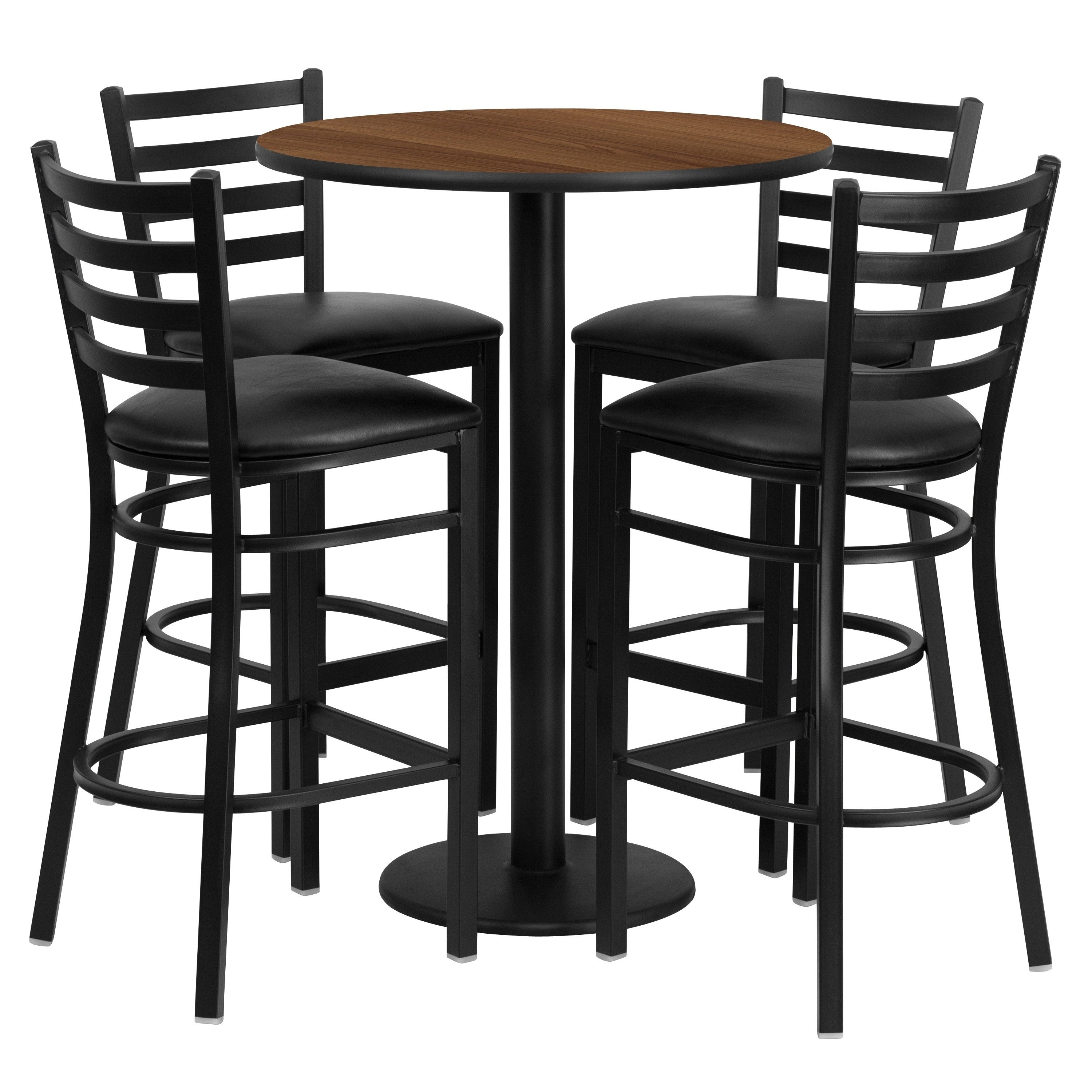 Lancaster Home 30'' Round Laminate Table Set with 4 Ladder Back Metal Barstools