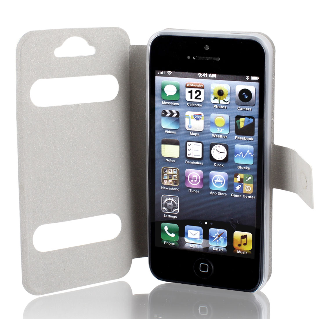 Solid White Faux Leather Protective Flip Cover Pouch Wallet for iPhone 5 5G 5GS