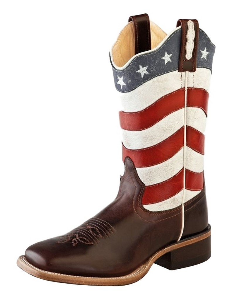 Old West Cowboy Boots Womens Flag Scallop Square 10 M Brown Red 18116