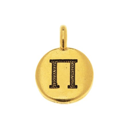 TierraCast Greek Alphabet Charm, Pi Symbol 16.75x11.75mm, 1 Piece, Antiqued Gold Plated