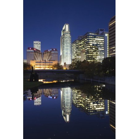 Gene Leahy Mall Skyline at Dawn, Omaha, Nebraska, USA Print Wall Art By Walter (Malls In Omaha Nebraska)