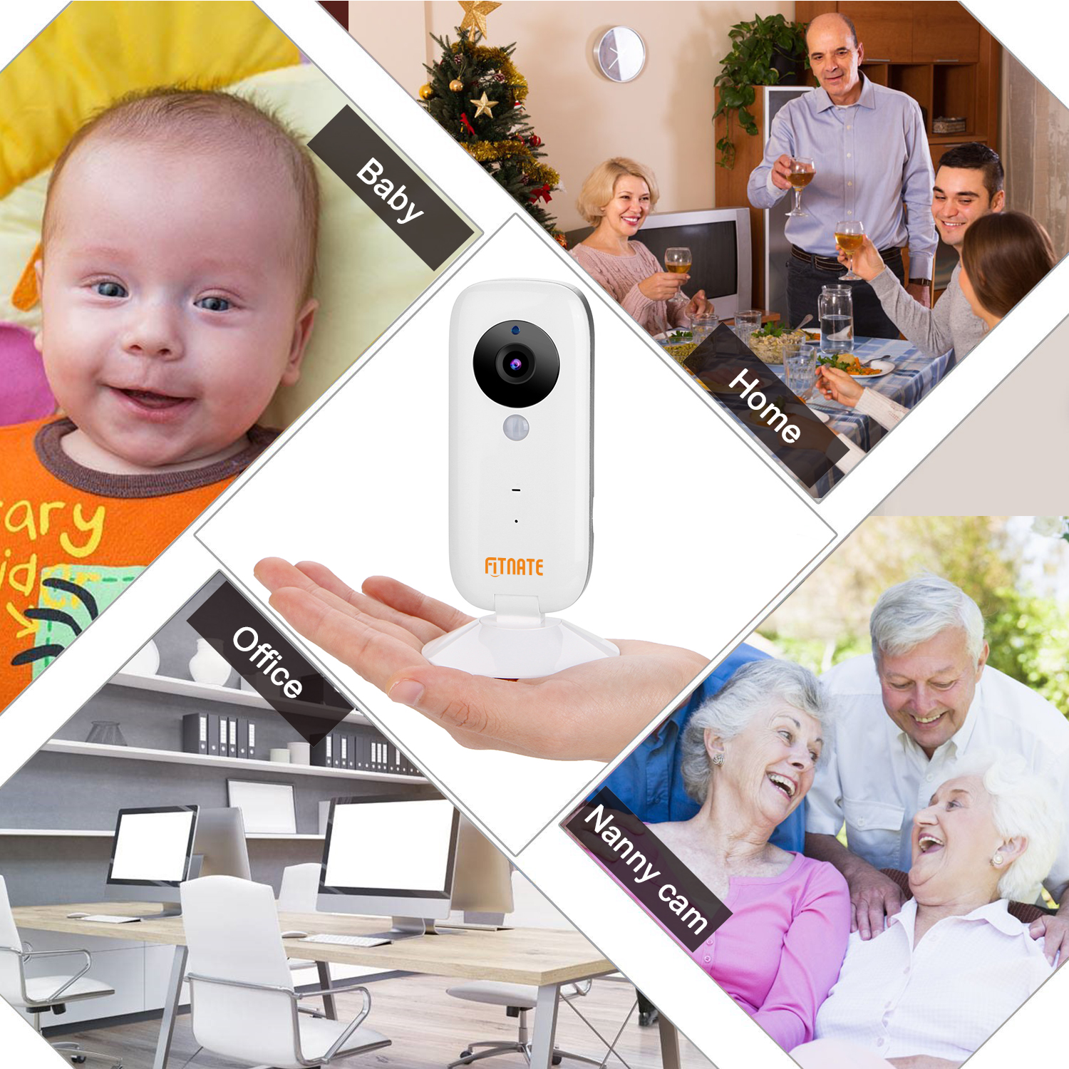 Fitnate 720P Wireless IP WiFi Security Camera Monitor w/ Night Vision & Two Way Audio for Elder Pet Nann