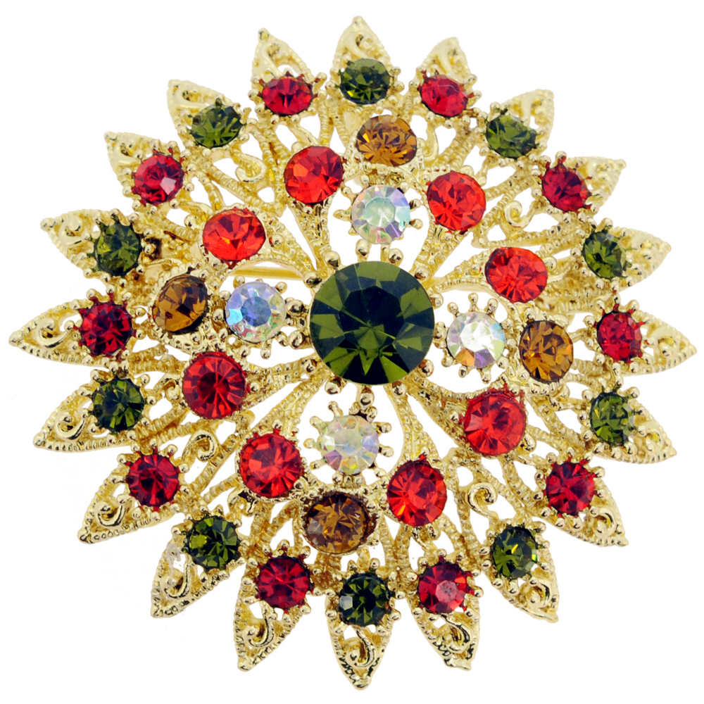 Multicolor Flower Bridal Wedding Crystal Pin Brooch and Pendant by