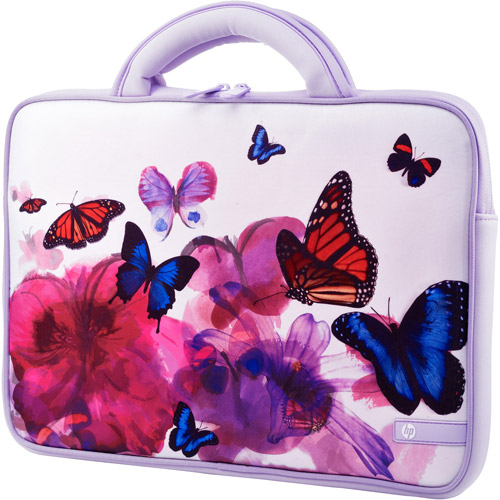 """HP 14"""" Butterfly Blossom Laptop PC Carrying Case Sleeve with Handles"""
