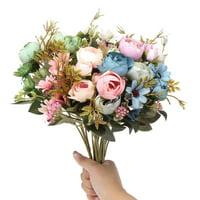 Artificial Flowers Fake Bridal Bouquet  for DIY Wedding Arrangements Bud Bride Wedding Home Decoration
