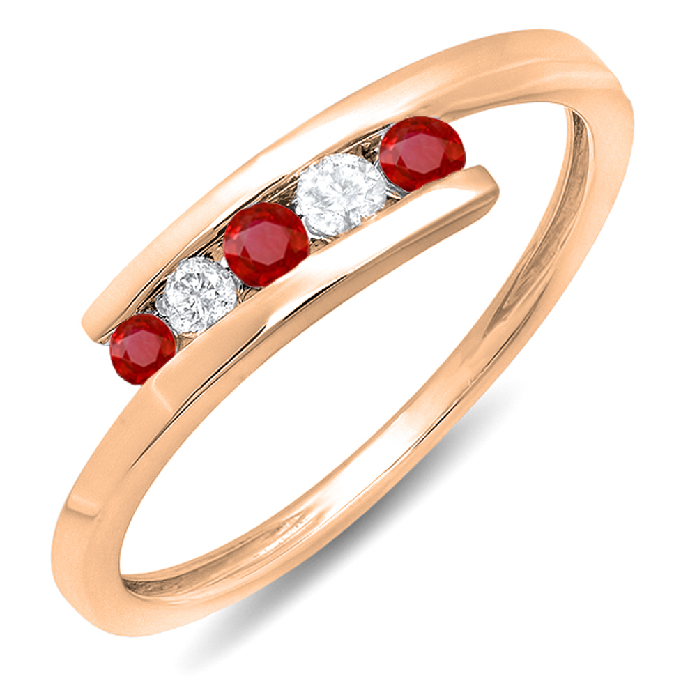 0.25 Carat (ctw) 10K Rose Gold Round Red Ruby And White Diamond Ladies 5 Stone Bridal Promise Ring 1/4 CT