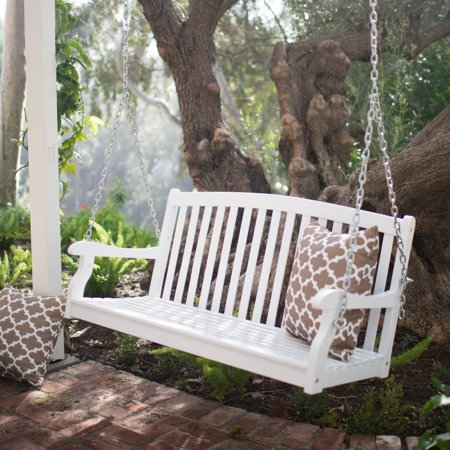 Porch Swing A-frame - Coral Coast Pleasant Bay 4 ft. White Curved Back Porch Swing with Optional Cushion