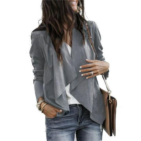 Women Faux Suede Duster Style Short Jacket Biker Ladies Waterfall Blazer Coat